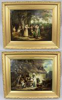 Pair of Early 19th Century Country Genre Scenes Oil on Canvas