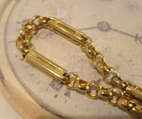 Vintage Pocket Watch Chain 1950s 12ct Gold Plated Large Fancy Link Albert Victorian Revival (5 of 12)