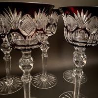 Five Val St Lambert Burgundy Crystal Wine Glasses (3 of 3)