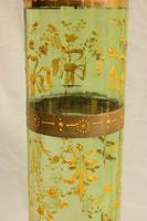 Antique Pair Moser Karlsbad Tall Green Glass Vases (8 of 10)