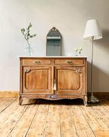 French Antique Style Marble Sideboard / Cupboard / Washstand Limed Oak