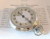 Vintage Pocket Watch 1955 Services Army Two Tone Dial Chrome Case FWO (4 of 10)