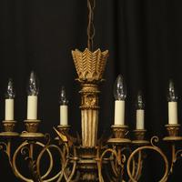 French Giltwood Polychrome 6 Light Chandelier (8 of 10)