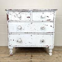 Small Distressed White Painted Victorian Chest of Drawers (2 of 10)