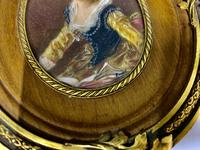 French Signed Portrait Miniature in Wood & Brass Frame c.1925 (4 of 8)