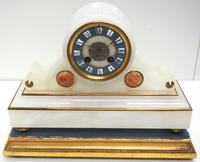 Fine Antique French Alabaster Mantel Clock – Blue Painted Dial 8-day Striking Mantle Clock (2 of 8)