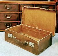 Antique 19th Century Small Brown Leather Suitcase (4 of 6)