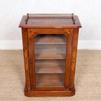 Music Cabinet Glazed Inlaid Walnut Bookcase 19th Century (5 of 10)