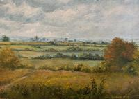 Original 20th Century Vintage English Farmland Country Landscape Oil on Canvas Painting (6 of 14)