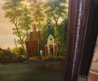 Pair Antique Dutch Oil Paintings Boat Scenes Riverscape 1860 (8 of 12)
