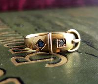 Victorian 18ct Gold Buckle Ring, Sapphire & Diamond (2 of 14)