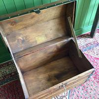 Antique Steamer Trunk Victorian Dome Top Chest Old Rustic Pine Blanket Box + Key (9 of 10)