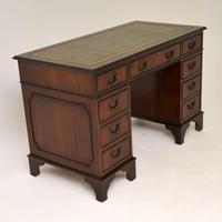 Antique Georgian Style Mahogany Leather Top Pedestal Desk (5 of 10)