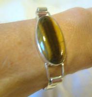 """Vintage Sterling Silver & Tigers Eye Bangle 1977 Silver Bracelet 6 1/2"""" Length (12 of 12)"""