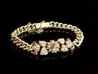Antique 15ct Gold Ruby and Pearl Curb Bracelet, Floral (4 of 10)