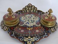 Beautiful French 19th century champleve enamel desk set (6 of 6)