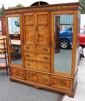 1900's Large Well Fitted Burr Oak Compactum Wardrobe (2 of 6)