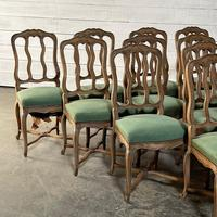 Set of 10 French Bleached Oak Farmhouse Dining Chairs (5 of 16)