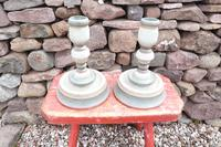 Pair of Swedish 'Folk Art' Large Over-sized Wooden Painted Candlesticks 20th Century (3 of 17)