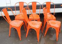 1960's Retro Set 6 Orange Metal Chairs (2 of 3)