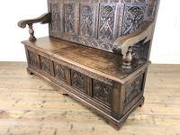 Antique Victorian Carved Oak High Back Settle (3 of 15)