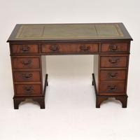 Antique Georgian Style Mahogany Leather Top Pedestal Desk (3 of 10)