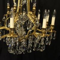 French Gilded Bronze & Crystal Antique Chandelier (4 of 10)