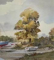 Superb Quality 20th Century Vintage Boats Estuary Seascape Watercolour Painting (5 of 11)