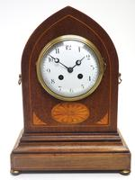 Fantastic French Inlaid Lancet Mantel Clock Multi Wood inlay 8 Day Striking Mantle Clock (4 of 10)