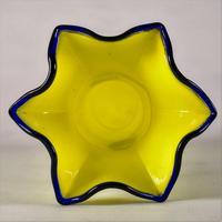 Bohemian Czech Tango Yellow & Cobalt Blue Coil Blown Glass Vase (5 of 6)