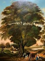 Huge Fabulous 19thc Continental Farming Country Landscape Oil Painting (4 of 19)