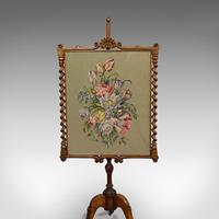 Antique Adjustable Fire Screen, Walnut, Needlepoint, Decorative, Pole, Regency (5 of 12)