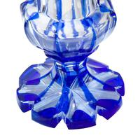 Pair of Blue Flash Overlay Glass Vases (4 of 6)