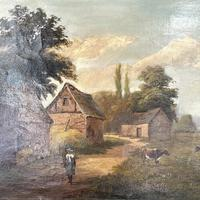 Antique Landscape Oil Painting of Farm Buildings with Cows Signed WP Cartwright 1892 (4 of 10)
