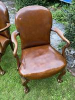 Pair of Leather Queen Anne Style Armchairs (7 of 10)