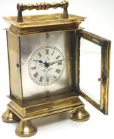 Rare Little Verge Carriage Clock Timepiece, Ormolu cased Silver Dial Mantel Clock (9 of 9)