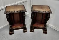 Pair of 19th Century Art Nouveau Gothic Carved Oak Console Pedestals (2 of 11)