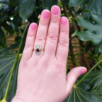 Art Deco 18ct Gold, Platinum Ruby & Diamond Shield Ring (7 of 8)