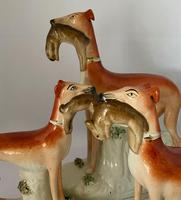 Superb Trio of Staffordshire Whippets c.1850 (2 of 13)