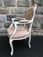 Antique French Polychrome Painted Desk Chair (5 of 8)