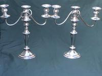 Pair of Edwardian Silver Plate on Copper Three Branch Candelabra (2 of 8)