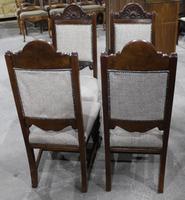 1920s Set of 4 Dark Walnut Highback Chairs in Grey (2 of 4)