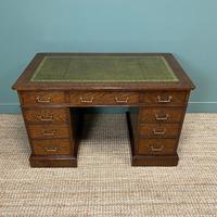 Quality Oak Victorian Antique Pedestal Desk (2 of 8)