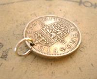 Vintage Pocket Watch Chain Fob 1963 Lucky Silver One Shilling Old 5d Coin Fob (3 of 7)