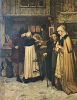 Substantial 19th Century Flemish Oil Painting of Locals in Brugge by Dumont (7 of 21)