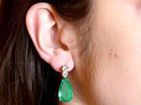 15.51ct Colombian Emerald and 1.12ct Diamond, Platinum Drop Earrings - Vintage Circa 1950 (9 of 9)