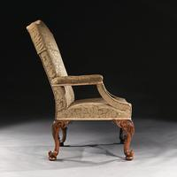 Mid 18th Century George II Walnut Library Open Armchair of Grande Scale (4 of 9)