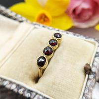 Vintage 18ct Gold Four Garnet Crystal Ring (3 of 9)