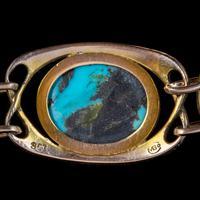 Antique Victorian Art Nouveau Turquoise Matrix Bracelet 9ct Gold Murrle Bennett Circa 1900 (5 of 7)