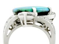 5.08ct Opal & 2.49ct Diamond, Platinum Dress Ring c.1950 (2 of 9)